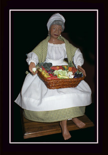 Click here to view closeup of the African American Doll, The Vegetable Lady Doll